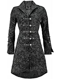 Pretty Kitty Fashion Black Vintage Tattoo Flock Fabric Long Coat - NOW AVAILABLE UP TO SIZE UK 26