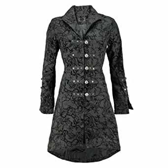 Hearts and Roses Black Vintage Tattoo Flock Fabric Long Coat