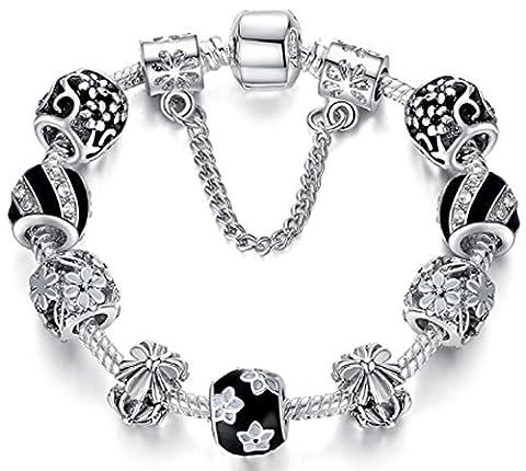 SaySure - Silver Bracelet Murano Glass & Crystal Enamel Charm Beads