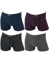 4er Pack Herren Retroshorts Boxershorts im Streifendesign 4 verschiedene Farben