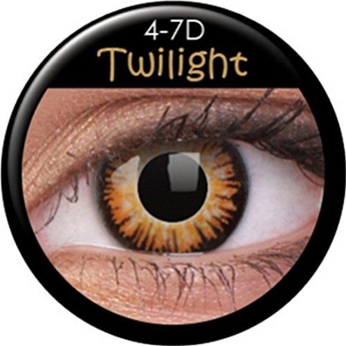 NET TOYS Twilight Kontaktlinsen Braune Farblinsen mit schwarzem Rand MondscheinMotivlinsen Dämmerung Augenlinsen Effektlinsen - Braune Rand