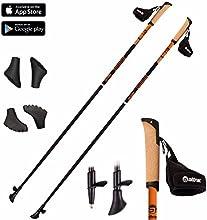 Attrac - Bastones para andar y marcha nórdica ultra ligeros de carbono, incluye 3 tacos intercambiables