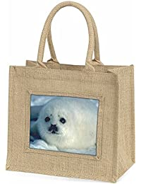 Snow White Sea Lion Large Natural Jute Shopping Bag Christmas Gift Idea