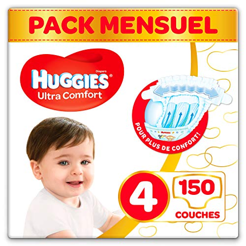 Huggies - Ultra Comfort - Couches Bébé Unisexe - Taille 4 (7-18 kg) x150 Couches - Pack 1 Mois