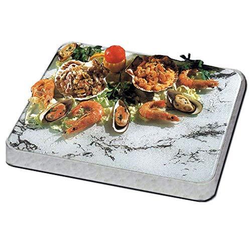 3C® crystalcoldceramic - Kalte Platte für Sideboard oder Tisch - 53 x 32,5 cm - Chrom und Marmor