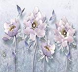 Wandbild Tapete Custom 3D Wallpaper Erleichterung Pfingstrose Blumen Vintage Europäischen Schmuck TV Couch Hintergrund Wandbilder Foto 3D Tapete, 350cmX245cm