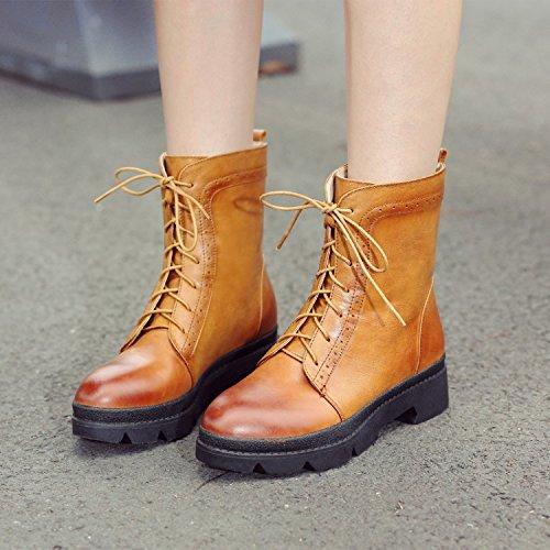 &ZHOU Bottes d'automne et d'hiver courtes bottes femmes adultes Martin bottes bottes Chevalier Brown