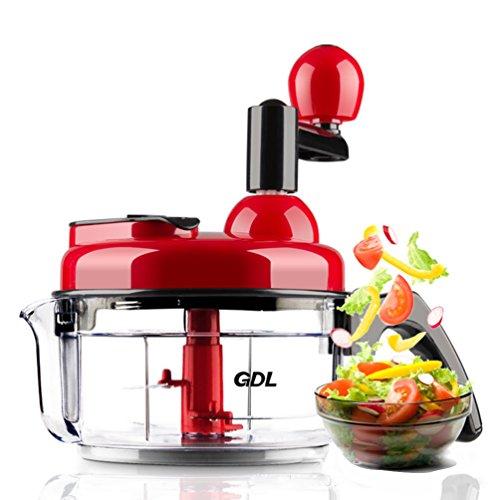Manuelle Lebensmittel-Prozessor kompakt und kraftvoll Hand Held Gemüse Chopper/Hacker/Mixer zu hacken Obst/Gemüse/Nüsse/Kräuter/Zwiebeln/Knoblauch für Salsa/Salat