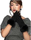 HYSENM Damen Handschuhe Lederhandschuhe Sämischleder mit Kaninfell Schleife Touchscreen verschiedene Farben, Schwarz