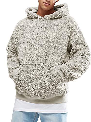 Gtealife Herren Sherpa Kapuzenpullover Pebble Flor Fleece Oversize Sweatshirts Taschen Outfits - Grau - XX-Large -