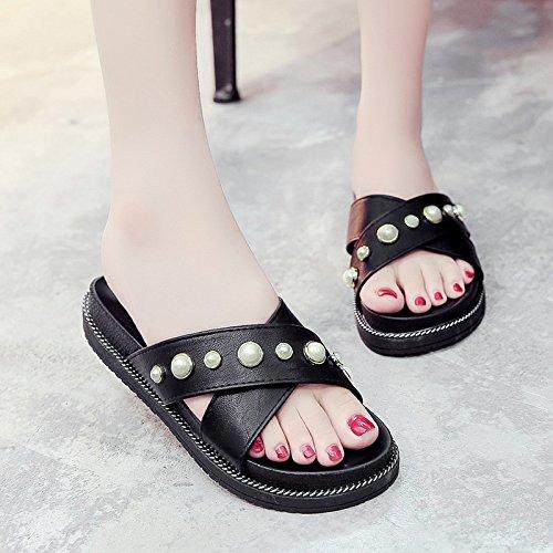 RUGAI-UE Estate pantofole donne pantofole spiaggia usura Skid rivetto Black
