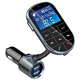 Bluetooth FM Transmitter, Vorstek KFZ Wireless Radio Adapter mit 2 USB Ladegerät (5V/2,4A Ausgang) TF-Kartenslot Mikrofon Telefonieren Freisprechfunktion LED-Display für iOS und Android Geräte