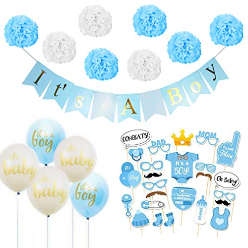 tion, It's A Boy und Gifts Girlande Banner und Luftballons, Neugeborene Fotorequisiten Konfetti Jungen Baby Dusche Geburtstags Party Dekorationen für Babyparty Deko-Blau ()