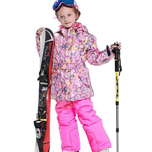 emansmoer Kinder Mädchen Skianzug Winddicht Baumwolle gepolstert Fleecefutter Wintersport Schnee Skijacke mit Snowboardhose Salopettes (116/122, Rosa(81610) + Rosa)