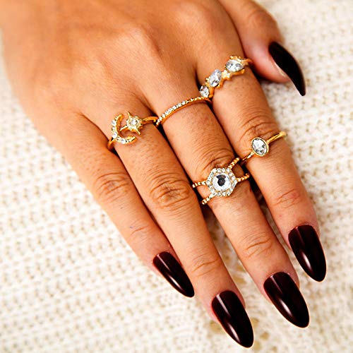 Star-Studded Moon Full Diamond Five-Piece Ring Set, Plated Minimalist Simple Thin Cute Dainty Rings Pack for Women Ladies Girls (Halloween 2019 Moon Cute)