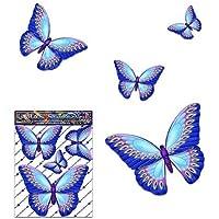 Pegatina del coche de la etiqueta engomada del coche del vinilo animal pequeño azul de la mariposa para la computadora portátil, caravanas, camiones, barcos ST00025BL_SML - JAS Stickers
