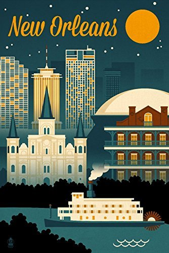 New Orleans, Louisiana - Retro Skyline, Papier, multi, 9 x 12 Art Print (Von Orleans Skyline New)
