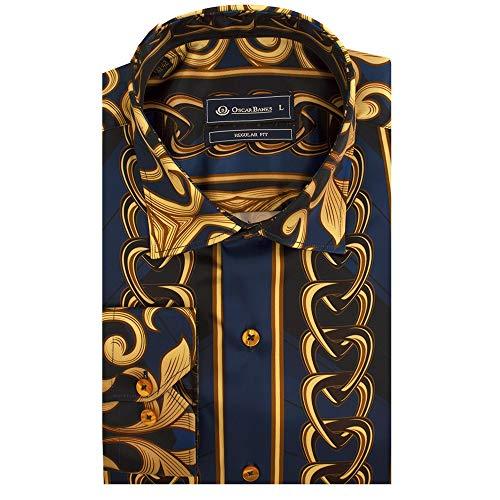 d23994bc0f20 Oscar Banks Blue and Gold Chains Print Satin Long Sleeve Mens Shirt XLarge  Dark Blue