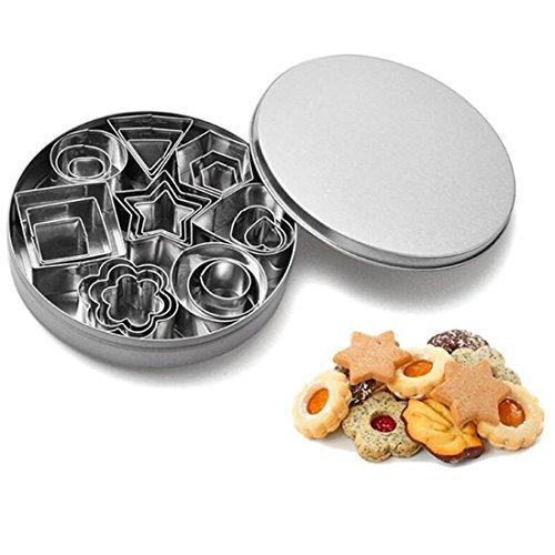 Mini cortador de galletas Set bsvlia 24 piezas cortadores de galletas de acero inoxidable moldeado decoración de pasteles cortadores de fondant