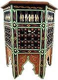 """Casablanca Orient Orientalischer Marokkanischer Beistelltisch aus Holz, Teetisch, Couchtisch, Deko Tisch, Hocker rund handgefertigt & handbemalt """"Granada"""", ø 40 cm, 50 Hoch"""
