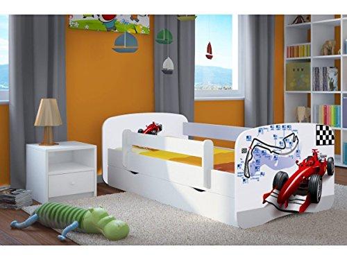 Wonderhome24 weiß Kleinkinder Bett mit Matratze und Speicherung enthalten. Kids Kinder Junior Bett, Tiere, Autos, 4. Formula, - Nachricht Matratze
