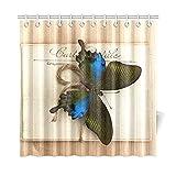 JOCHUAN Wohnkultur Bad Vorhang Schöne Schmetterling Und Alte Postkarten Polyester Stoff Wasserdicht Duschvorhang Für Badezimmer, 72 X 72 Zoll Duschvorhänge Haken Enthalten