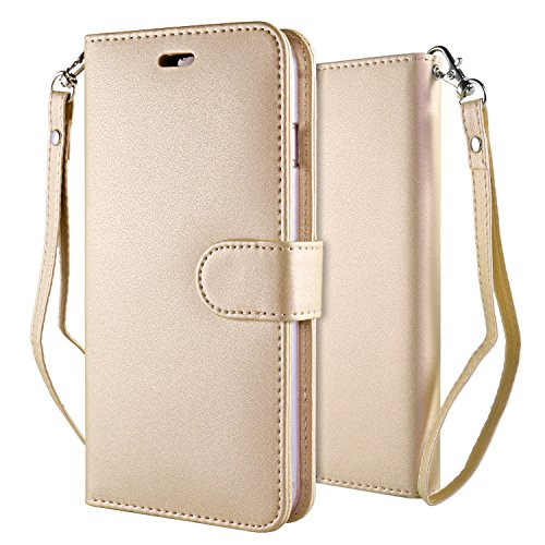 Custodia-iPhone-7-Cover-Oro-Leathlux-Puro-Colore-Modello-Design-Con-Cinturino-da-Polso-Magnetico-Snap-on-Book-style-Internamente-Silicone-TPU-Custodie-Case-in-pelle-Protettiva-Flip-Case-Cover-per-iPho