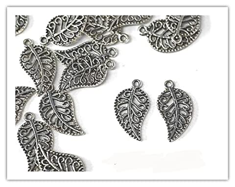 15 x Antique Silver Plated 'FILIGREE LEAF' Charms. Jump rings included for attachments. Universal use for Jewellery & Card Making