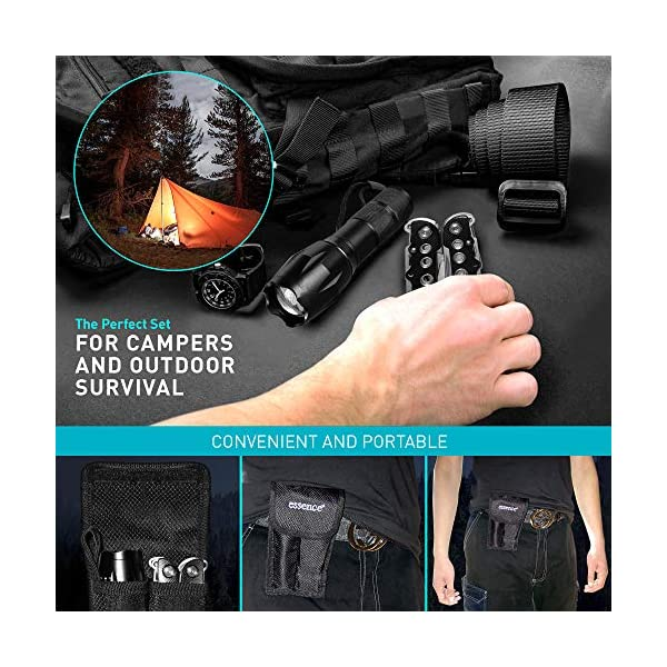 essence' Multi Tool Pliers & Led Tactical Torch Set - Bright Powerful Zoom Focus Flashlight - 15in1 Stainless Steel Portable Pocket Multi-tool - Perfect Hand Tools for Camping DIY Outdoor Survival Kit 7