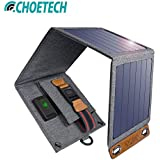 Choetech ® Waterproof Solar Charger 14W Solar Panel Phone Charger Waterproof Foldable Camping Charger Compatible iPhone Xs Max/XS/X/8, Galaxy S10/S10+, Other Smartphones