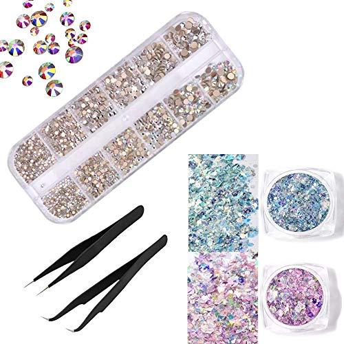 1440 pezzi di cristalli per unghie ab e strass trasparenti per nail art, gemme e 2 pinzette con scatola portaoggetti, ss4 6 8 10 12 16