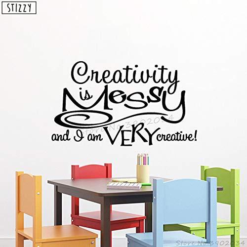 yaoxingfu Wandtattoo Zitate Kreativität Ist Chaotisch Innenwandaufkleber Klassenzimmer Dekoration Kreatives Sprichwort Kunstwanddekor DIY weiß 71x42cm