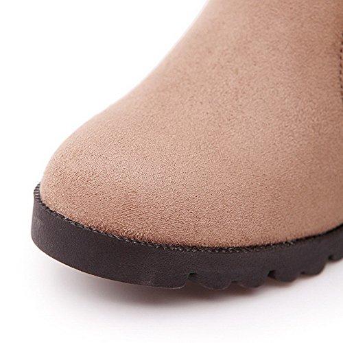 AllhqFashion Damen Niedrig-Spitze Reißverschluss Mattglasbirne Hoher Absatz Stiefel Cremefarben