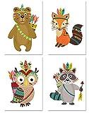 PICSonPAPER Kinder Poster 4er-Set Indianer, ungerahmt Din A4, Dekoration fürs Kinderzimmer, Babyzimmer, Kinderposter, Babyposter, Kunstdruck, Wandbild, Geschenk (Ohne Bilderrahmen)
