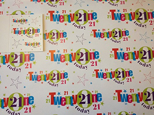 21st Birthday Wrapping Paper Gift Wrap 2 Sheets 1 Tag 21 White Words