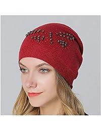 HAOLIEQUAN Moda Tejida Sombreros De Invierno Mujer Mariposa Patrón Mujer  Sombreros De Invierno con Cuentas Gorras Gorros… 66645348e6c