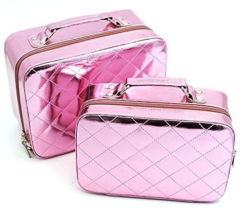 hoyofo Lot de 2Beauty Box matelassé forme cosmétique train en cuir grande capacité Rose rose M