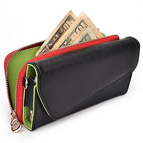 Kroo d'embrayage portefeuille avec dragonne et sangle bandoulière pour Huawei Ascend Y300 Multicolore - Black and Violet Multicolore - Noir/rouge