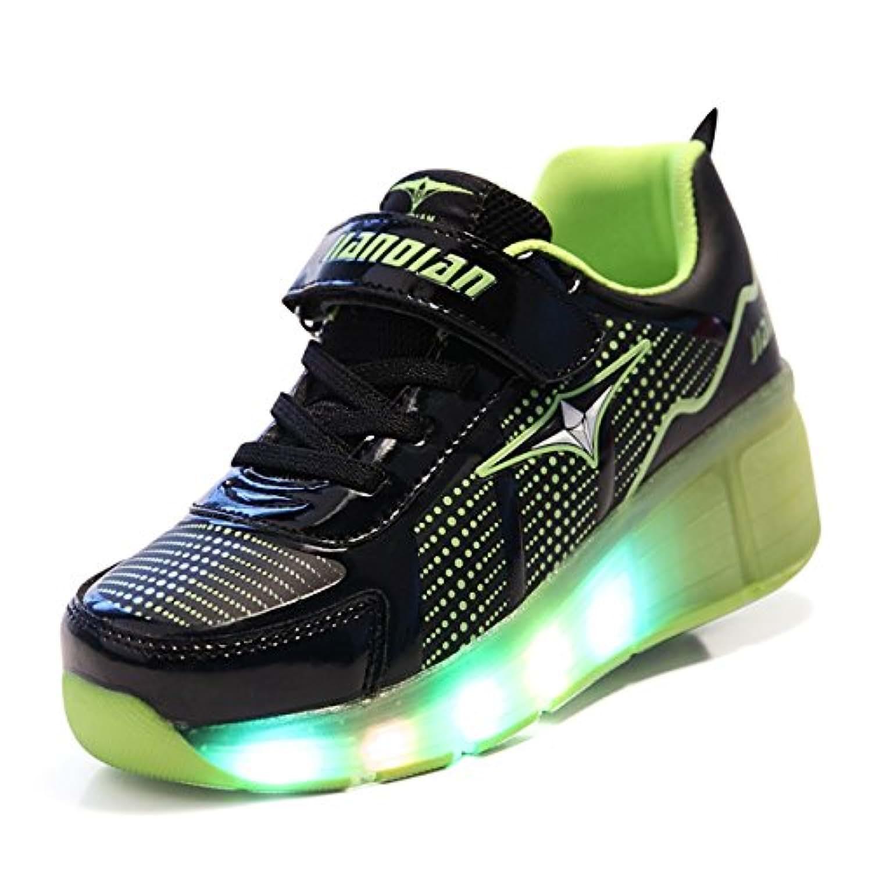 SGoodshoes Unisex Kids Boy Led Wheels Shoes Girl Flashing Roller Skates Shoes Inline Single Skate Trainer Adults Gym Sport Shoes