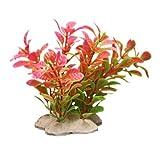 Sonline Kunstpflanze 10CM Aquarium Dekoration Wasserpflanze pink+gruen