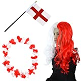 Sonia Originelli Fan-Paket-4 WM Fußball Locken Perücke Hawaiikette Flagge Party Farbe England