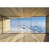 Vlies Fototapete PREMIUM PLUS Wand Foto Tapete Wand Bild Vliestapete - Holz Raum Ausblick Berge Winter Schnee Alpen - no. 1894, Größe:368x254cm Vlies