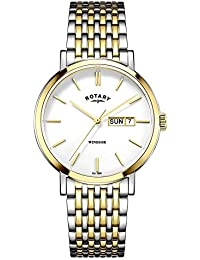 Gents Mens Two Tone Stainless Steel Rotary Quartz Battery Watch on Bracelet with Date. GB05301/01
