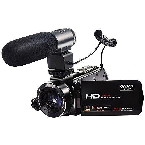 ORDRO Wifi Video Camcorder Full HD 1080P Handheld Digitalkamera mit Externem Mikrofon (HDV-Z20)