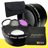 72mm Wide Angle + 2x Telephoto Lenses + 3 Piece Filter Kit for Canon EOS 70D with Canon EF 180mm f/ 3.5L Macro USM Lens + DavisMAX Fibercloth Lens Bundle