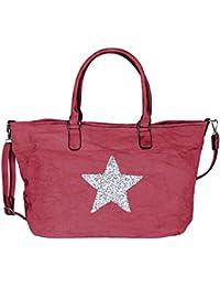 Mevina Damen Handtasche groß Stern aus Canvas Glitzer Strass Steine Shopper Schultertasche Henkeltasche - 52x34x18 cm (B x H x T)