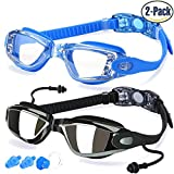Swimming Goggles, Pack of 2, Swim Glasses for Adult Men Women Youth Kids Children, with Anti-Fog, Waterproof, UV 400 Protection Lenses, Made by COOLOO