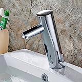 Aimadi Infrarot Sensor Wasserhahn Automatisch Induktion Badarmatur Wassersparen Waschtisharmatur Handwaschbecken Batteriebetrieb Chrom