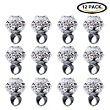 Konsait Flashing Led Light up Ring Toys Diamond Grow in the Dark Jelly Bumpy Rings for Wedding Birthday Hen Night Kids and Adults Gatsby Party Accessories Decotations Favors (12pcs)