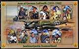 Somaliland 2011 Air Aces of the German Luftwaffe (WW2) perf sheetlet 10 values plus 2 labels u/m AVIATION WW2 JandRStamps